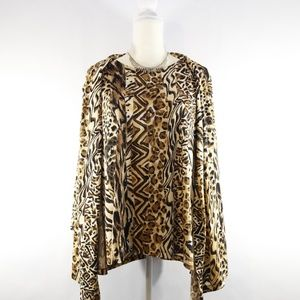 Alfred Dunner Leopard Print Blouse w/ Cami - 1X